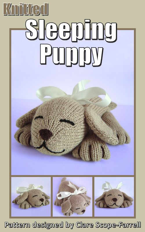 Clare Scope Farrell Novelty Knitting Patterns Knitted Sleeping Puppy